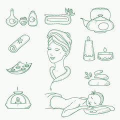Spa doodle hand drawn sketch  icons set with  towels aroma