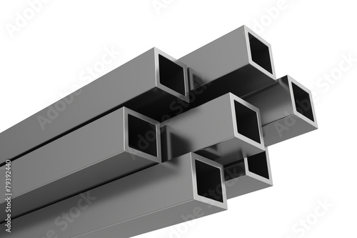 stainless steel profiles on a white background - 79392440