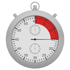 stopwatch with button and red range isolated on white background