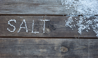 word salt from sea salt crystals