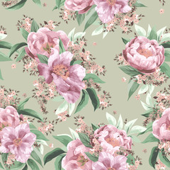 Seamless floral pattern with pink roses on light background