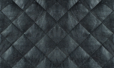 Black quilted leather fabric close up, abstract background