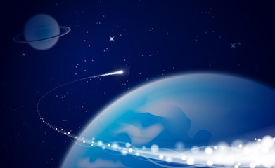 Vector abstract space background with comet and planet