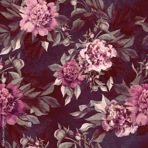 Seamless floral pattern with red and pink roses and peonies плакат