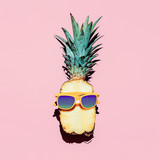 Hipster Pineapple Fashion Accessories and fruits. Vanilla style. - Fine Art prints