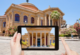 tourist taking photo of Teatro Massimo, Palermo