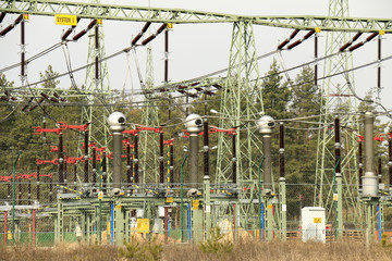 Elektrownia, prąd, słupy, energia