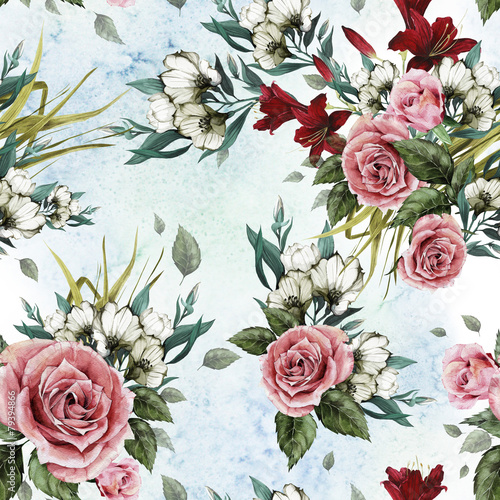 Seamless floral pattern with roses and lilies - 79394866