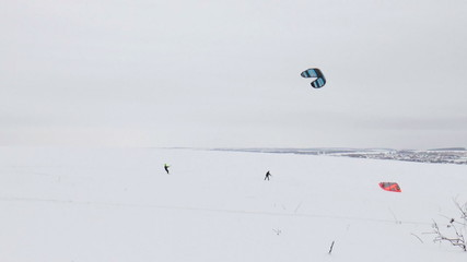 The active sport winter Kitesurfing