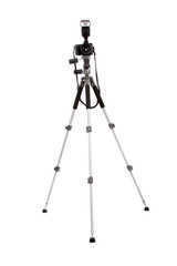 Camera and tripod isolated on white