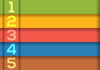 Background with 5 colorful horizontal stripes with numbers