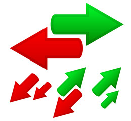 Illustration of conceptual arrows. Opposite directions, growth,