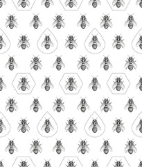 Bees texture. Seamless pattern.