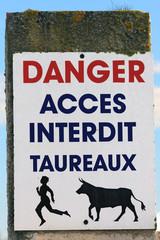 Danger taureaux