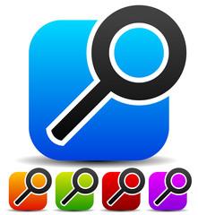 Squarish magnifying glass icons