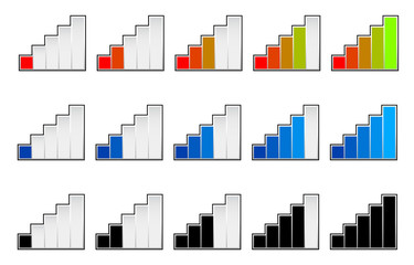 Signal strength indicators or general gauge, measure, level indi