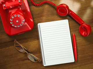 Vintage business concept. Retro telephone, notebook, pen and gla