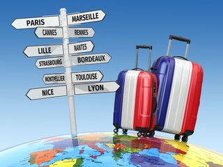 Travel concept. Suitcases and signpost what to visit in France.