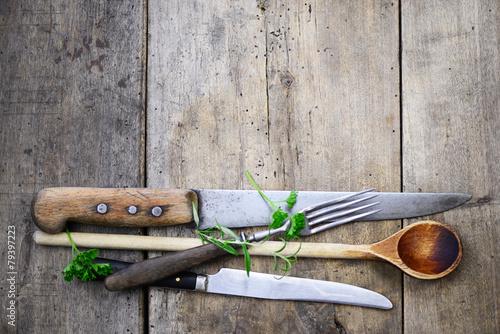 Leinwandbild Motiv Holzlöffel Messer