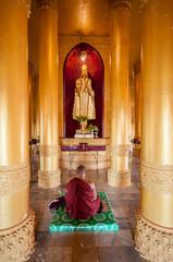 tgolden buddha image in Maharzayde pagoda,Bago, Myanmar.