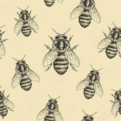 Materiał do szycia Bees texture. Seamless pattern