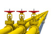 Three yellow pipes with valves - 79398846