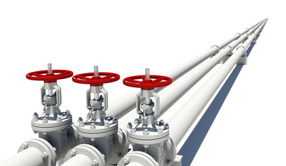 Three white pipes with valves