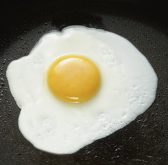 A fried egg in a pan