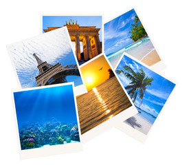 Various travel photo collage isolated on white background