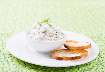 Soft cheese spread with salmon and green onions