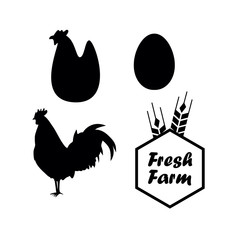 Chicken and Farm vector emblems