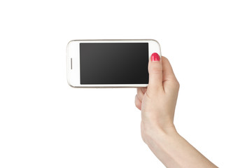 Phone in hand girl. White screen smartphone isolated on white