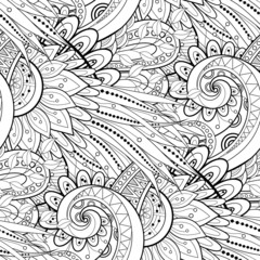 Seamless Monochrome Floral Pattern (Vector). Hand Drawn Texture