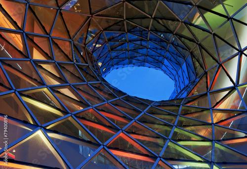 Leinwandbild Motiv Glasfassade im Licht