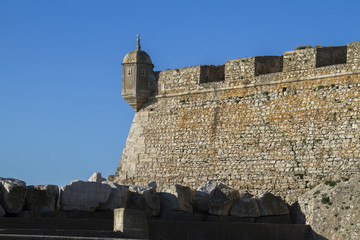 Section view of coastal fortress of Peniche, Portugal.
