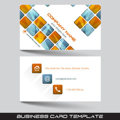 Business card template, visiting card with square pattern