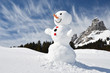 Funny snowman against Swiss Alps - 79402078