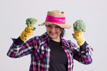 Happy Garden Woman with Broccoli