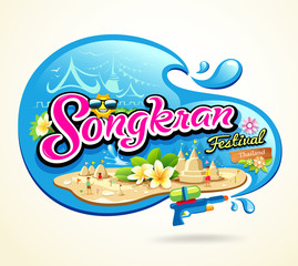 Songkran Festival Period of April  in the summer of Thailand