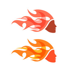Two isolated logotypes. Woman with flame hair.