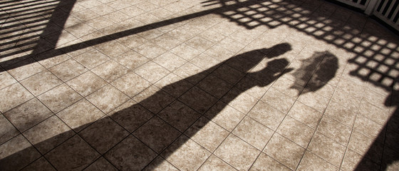 Shadow Of Lovely Marriage Couple Embracing