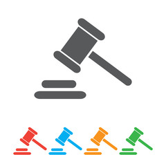 Hammer judge icon. gavel law legal hammer.