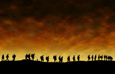 World War One Soldiers Silhouettes