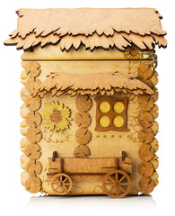 wooden model of little house isolated on the white background