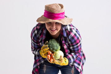 Happy Garden Woman with Vegetables