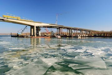 Construction understudy of the Voroshilovskii bridge. Rostov-on-