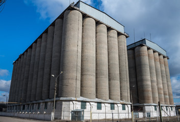 Old concrete grain elevator in Ukraine