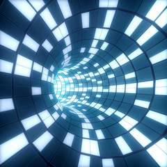 Abstract background. Illustration of 3d tunnel with squares