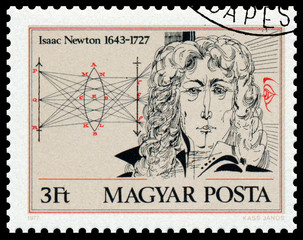 Stamp printed in Hungary shows portrait of Isaac Newton