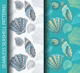 Seamless seashell patterns